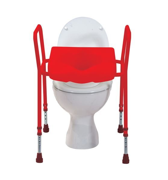 Red Toilet Seat Aid, Adjustable Height