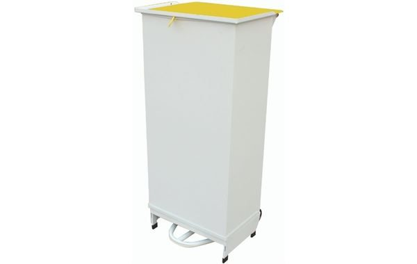 80 Litre Fixed Body Sack Holder, White Body with Yellow Lid