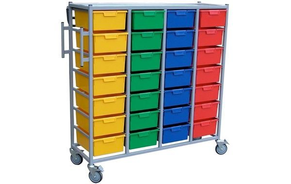 Laundry Quad Cart with 24 Trays