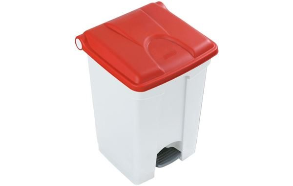 45 Litre Step-On Pedal Bin, White Body with Red Lid